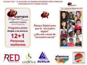 Cartel del programa RampaDigital -12 + 1 personas resilientes, logotipos de entidades e imagenes de las 12 personas inscritas