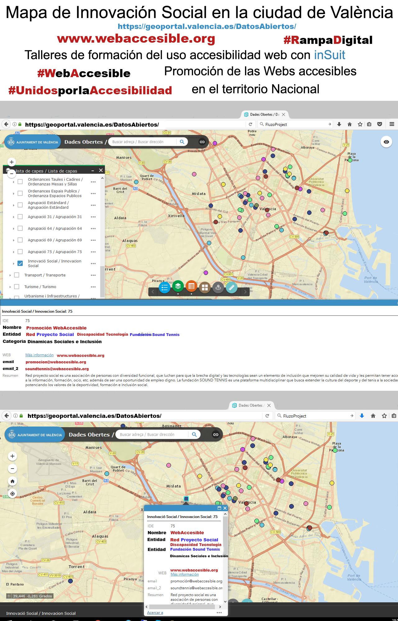 Mapa del Geoportal del Ayuntamiento de Valencia - Mapa de Innovación Social Promoción Web Accesible