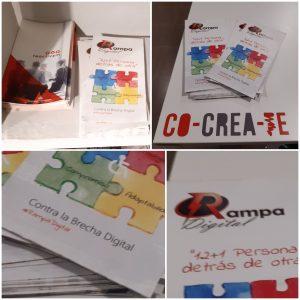 Tripticos y carteleria proyecto RAMPA DIGITAL en sede COCREATE