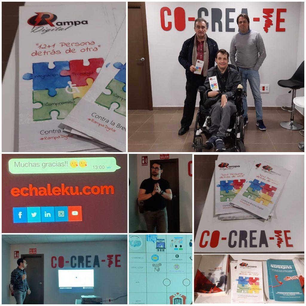 Instantáneas de acto presentación proyecto Rampa Digital a técnicos de COCREATE - asistencia a taller de Marketing Digital de Javier Echaleku
