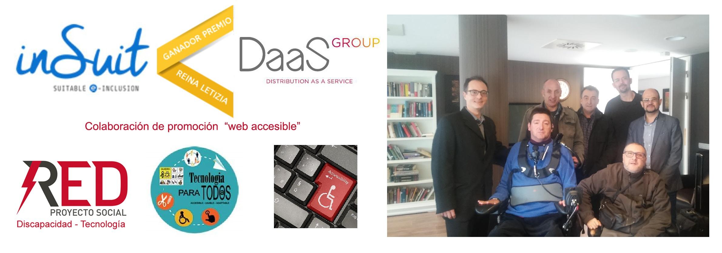 Representantes de nSuit de Daas Group empresa Premio Reina Letizia y RED Proyecto Social Discapacidad tecnología en acto firma convenio por la accesibilidad web y contra la brecha digital