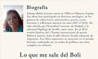 """Imagen de la Bibliografía SABRINA BALEN autora del libro """"Lo que me sale del boli"""""""
