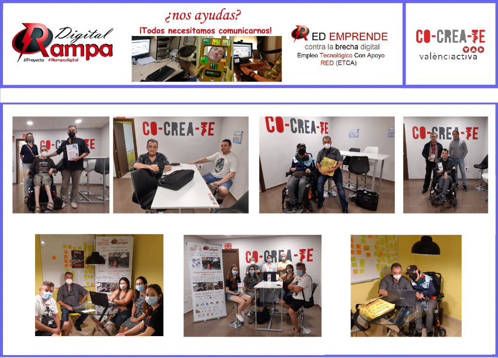 Fotos miembros comisión RED Emprende promotores proyecto Empleo Tecnológico con Apoyo ETCA - con Tilua colaboradoras de RAMPA DIGITAL en el espacio COCREATE con responsables técnicos de Valencia Activa y Universidad Politécnica de Valencia